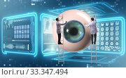 Купить «Doctor examining giant eye in medical concept», фото № 33347494, снято 9 апреля 2020 г. (c) Elnur / Фотобанк Лори