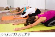 Female group perform asanas for yoga in a comfortable classroom. Стоковое фото, фотограф Яков Филимонов / Фотобанк Лори