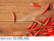 Купить «red chili or cayenne pepper on wooden boards», фото № 33356306, снято 6 сентября 2018 г. (c) Syda Productions / Фотобанк Лори