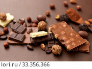 Купить «chocolate with nuts, cocoa beans and powder», фото № 33356366, снято 1 февраля 2019 г. (c) Syda Productions / Фотобанк Лори