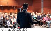 Купить «Speaker at Business Conference and Presentation.», фото № 33357230, снято 13 мая 2014 г. (c) Matej Kastelic / Фотобанк Лори
