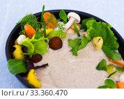 Купить «Mushroom cream soup boiled with honey fungus, served with vegetables», фото № 33360470, снято 5 апреля 2020 г. (c) Яков Филимонов / Фотобанк Лори