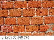 Купить «Текстура стены из красного кирпича», эксклюзивное фото № 33360770, снято 25 июля 2009 г. (c) lana1501 / Фотобанк Лори