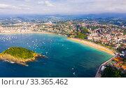 Купить «Aerial view of San Sebastian, Spain», фото № 33365462, снято 16 июля 2019 г. (c) Яков Филимонов / Фотобанк Лори