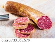 Купить «Dry cured sausage Salchichon», фото № 33365570, снято 4 апреля 2020 г. (c) Яков Филимонов / Фотобанк Лори