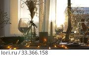 Купить «dinner party table serving at home», видеоролик № 33366158, снято 9 февраля 2020 г. (c) Syda Productions / Фотобанк Лори