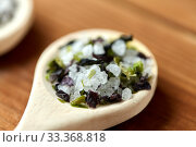 close up of wooden spoon with flavored sea salt. Стоковое фото, фотограф Syda Productions / Фотобанк Лори