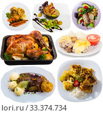 Купить «Set with dishes of delicious fried chicken with greens, garnish and vegetables», фото № 33374734, снято 1 апреля 2020 г. (c) Яков Филимонов / Фотобанк Лори