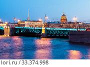 Купить «Зеленая подсветка Дворцового моста в честь Дня святого Патрика. Санкт-Петербург», фото № 33374998, снято 15 марта 2020 г. (c) Румянцева Наталия / Фотобанк Лори