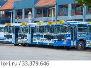 Городские автобусы 122-го маршрута на главной автобусной станции Gunasinghapura. Коломбо, Шри-Ланка (2020 год). Редакционное фото, фотограф Виктор Карасев / Фотобанк Лори