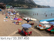 Beach in the village of Novy Svet, Crimea, Russia (2015 год). Редакционное фото, фотограф Наталья Волкова / Фотобанк Лори