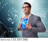 Купить «Superhero saving american dollar currency», фото № 33397986, снято 4 июля 2020 г. (c) Elnur / Фотобанк Лори