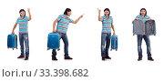 Купить «Young man travelling with suitcases isolated on white», фото № 33398682, снято 26 октября 2013 г. (c) Elnur / Фотобанк Лори