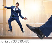 Купить «Bad angry boss kicking employee in business concept», фото № 33399470, снято 5 июля 2020 г. (c) Elnur / Фотобанк Лори