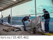 Купить «Work is progressing rapidly on the new field unit of the San Raffaele hospital of the IRCCS, financed by the fundraising launched by Chiara Ferragni and...», фото № 33401462, снято 19 марта 2020 г. (c) age Fotostock / Фотобанк Лори