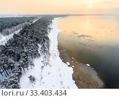 Купить «Winter sunset on the Baltic sea, snow covered sandy beach line, evergreen trees and open water, the Gulf of Finland, St. Petersburg, Russia», фото № 33403434, снято 21 января 2018 г. (c) Кекяляйнен Андрей / Фотобанк Лори