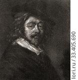 Frans Hals the Elder, c. 1582-1666. Dutch Golden Age painter. 18th century work based on a self portrait by Hals. (2019 год). Редакционное фото, фотограф Classic Vision / age Fotostock / Фотобанк Лори