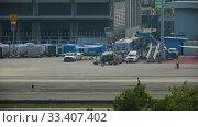 Купить «Supervisor meets helicopter at the airport», видеоролик № 33407402, снято 28 ноября 2016 г. (c) Игорь Жоров / Фотобанк Лори