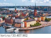 Купить «Panorama of Gamla Stan in Stockholm, Sweden», фото № 33407902, снято 28 августа 2018 г. (c) Коваленкова Ольга / Фотобанк Лори