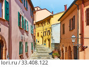 Купить «Old picturesque streets in Santarcangelo di Romagna», фото № 33408122, снято 26 февраля 2020 г. (c) Роман Сигаев / Фотобанк Лори