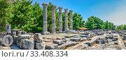 Купить «The Temple of Athena Polias in the Ancient Priene, Turkey», фото № 33408334, снято 20 июля 2019 г. (c) Sergii Zarev / Фотобанк Лори