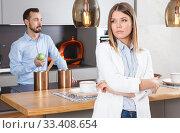Купить «Upset girl after discord with man», фото № 33408654, снято 24 мая 2018 г. (c) Яков Филимонов / Фотобанк Лори