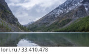 Купить «Mountain lake timelapse at the summer or autumn time. Wild nature and rural mount valley. Green forest of pine trees and fast clouds on sky. Motorised dolly slider movement», видеоролик № 33410478, снято 19 января 2020 г. (c) Александр Маркин / Фотобанк Лори