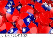 Купить «Taiwan Badges Background - Pile of taiwanese Flag Buttons. 3D Rendering», фото № 33411534, снято 16 июля 2020 г. (c) age Fotostock / Фотобанк Лори