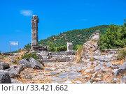 Купить «Ruins of the Ancient Temple in Priene, Turkey», фото № 33421662, снято 20 июля 2019 г. (c) Sergii Zarev / Фотобанк Лори