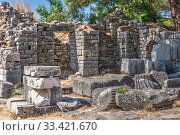 Купить «Ruins of the Ancient city Priene in Turkey», фото № 33421670, снято 20 июля 2019 г. (c) Sergii Zarev / Фотобанк Лори