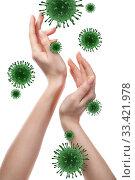 Купить «Womans hands and Coronavirus bacteria.», фото № 33421978, снято 30 января 2011 г. (c) Ярослав Данильченко / Фотобанк Лори