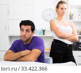 Купить «Man at home table after quarrel with wife», фото № 33422366, снято 5 июня 2020 г. (c) Яков Филимонов / Фотобанк Лори