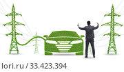 Купить «Electric car and green energy concept», фото № 33423394, снято 15 июля 2020 г. (c) Elnur / Фотобанк Лори