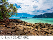 Beautiful tropical beach with sea view, clean water blue sky. Nature background. Стоковое фото, фотограф Zoonar.com/Dmitry Kushch / age Fotostock / Фотобанк Лори