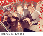Купить «Businesspeople frightening with blood splatter effect», фото № 33429154, снято 29 января 2019 г. (c) Яков Филимонов / Фотобанк Лори