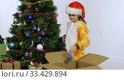 Радостная счастливая девочка снимает шарики с новогодней елки и кладет в коробку. Стоковое видео, видеограф Иванов Алексей / Фотобанк Лори