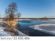 Купить «Lake scene with snow during early spring», фото № 33430406, снято 19 марта 2016 г. (c) Gagara / Фотобанк Лори