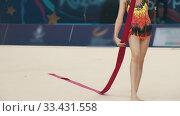 Купить «Young women about to give a performance at the rhythmic gymnastics tournament using special ribbons», видеоролик № 33431558, снято 27 мая 2020 г. (c) Константин Шишкин / Фотобанк Лори