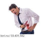 Купить «Wounded businessman with blood stains isolated on white backgrou», фото № 33431582, снято 15 сентября 2017 г. (c) Elnur / Фотобанк Лори