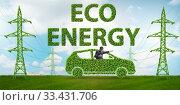 Купить «Electric car and green energy concept», фото № 33431706, снято 10 июля 2020 г. (c) Elnur / Фотобанк Лори