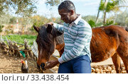Farmworker carrying horse. Стоковое фото, фотограф Яков Филимонов / Фотобанк Лори