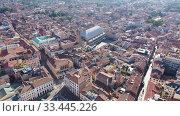 Купить «Panoramic aerial view of Padua cityscape with buildings and streets, Italy», видеоролик № 33445226, снято 5 сентября 2019 г. (c) Яков Филимонов / Фотобанк Лори