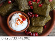 Купить «Dolma in a clay plate with pomegranate, sour cream and chacha on a wooden background», фото № 33448902, снято 23 марта 2020 г. (c) Марина Володько / Фотобанк Лори
