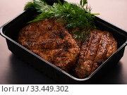 Купить «Tasty meat steak with dill high angle view», фото № 33449302, снято 28 января 2020 г. (c) Гурьянов Андрей / Фотобанк Лори