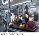 Купить «children play in the quest room of a inscrutable bunker», фото № 33449710, снято 21 октября 2017 г. (c) Яков Филимонов / Фотобанк Лори