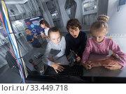 Купить «Children playing in bunker questroom», фото № 33449718, снято 21 октября 2017 г. (c) Яков Филимонов / Фотобанк Лори