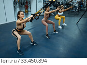 Group of women doing exercise in gym, back view. Стоковое фото, фотограф Tryapitsyn Sergiy / Фотобанк Лори