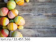 Купить «Easter eggs on wooden», фото № 33451566, снято 9 марта 2018 г. (c) Типляшина Евгения / Фотобанк Лори