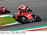 Mugello - Italy, 1 June: italian Ducati Team rider Danilo Petrucci in action at 2019 GP of Italy of MotoGP on June 2019 in Italy. Редакционное фото, фотограф Daniele Ciabatti / age Fotostock / Фотобанк Лори