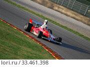Купить «MUGELLO, IT, November, 2007: Unknown run with Historic Ferrari F1 312T ex Niki Lauda during Finali Mondiali Ferrari 2007 into the mugello circuit in italy», фото № 33461398, снято 27 октября 2007 г. (c) age Fotostock / Фотобанк Лори